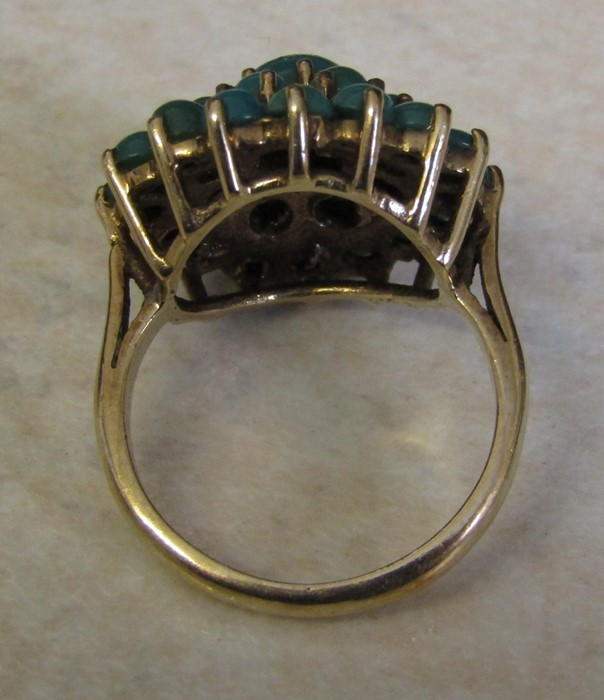 9ct gold turquoise cluster ring, size J/K, hallmarked London 1979, total weight 5.1 g - Image 5 of 6