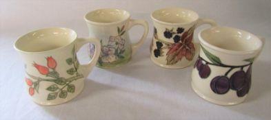 4 Moorcroft mugs - blackberry, rose hip, plum and spring blossom H 8.5 cm