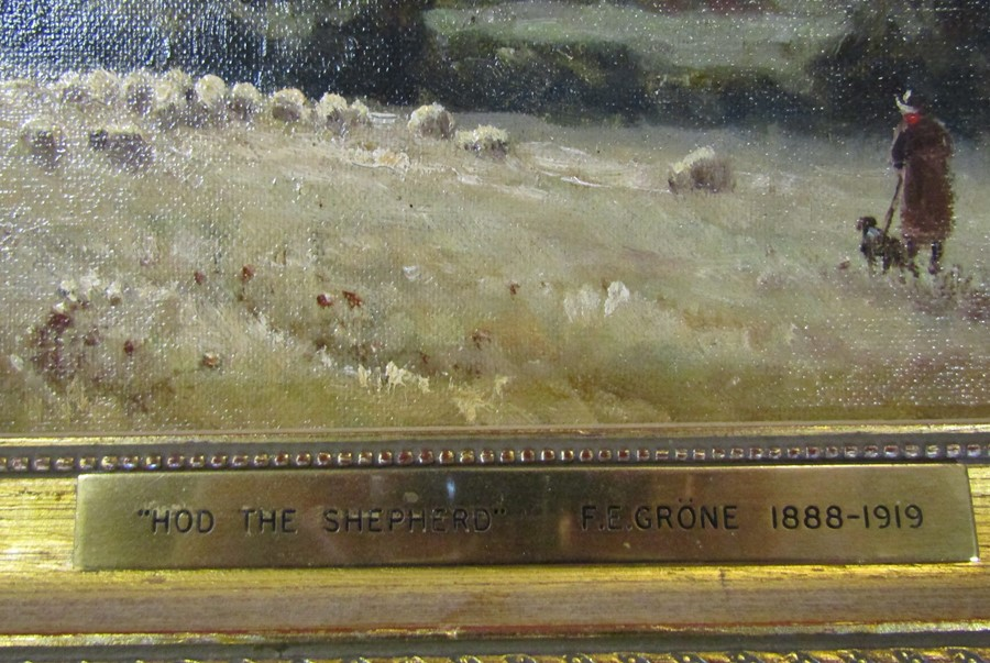 Ferdinand E Grone (1845-1920) gilt framed oil on board of a landscape signed F E Grone with brass - Image 3 of 3