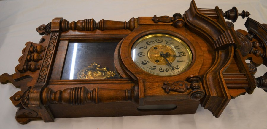 Vienna regulator wall clock with 2 train spring driven movement with butterfly decorated dial & an - Image 3 of 6