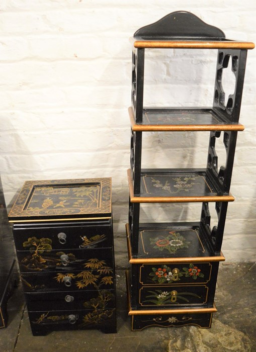 Small Oriental lacquer 5 draw cabinet / jewellery box H 48 cm L 30 cm D 25.5 cm & a cabinet with