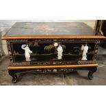 Oriental lacquer TV cabinet with applied mother of pearl decoration