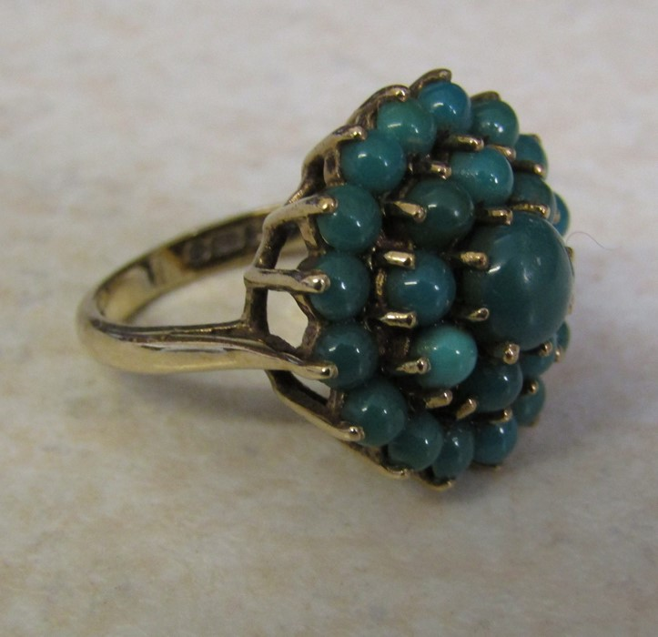 9ct gold turquoise cluster ring, size J/K, hallmarked London 1979, total weight 5.1 g - Image 3 of 6