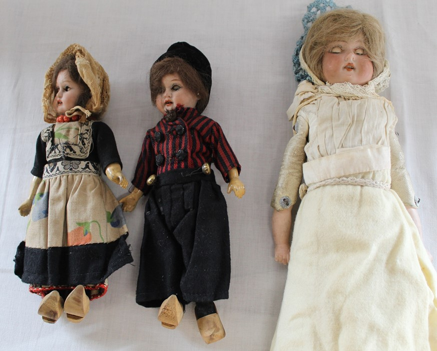 Armand Marseille bisque head doll marked AM-8 with kid leather body, bisque limbs, sleeping eyes,