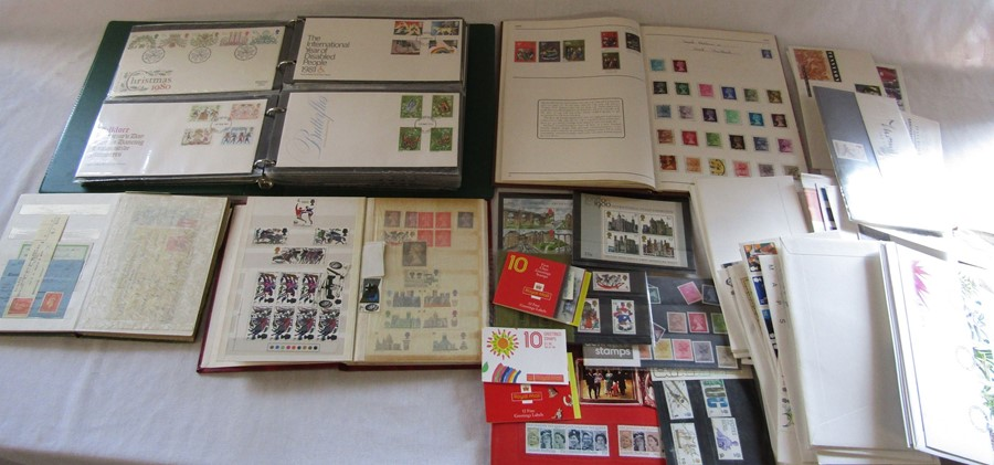 Stamp albums, album of FDCs, small stock album, mint stamps etc