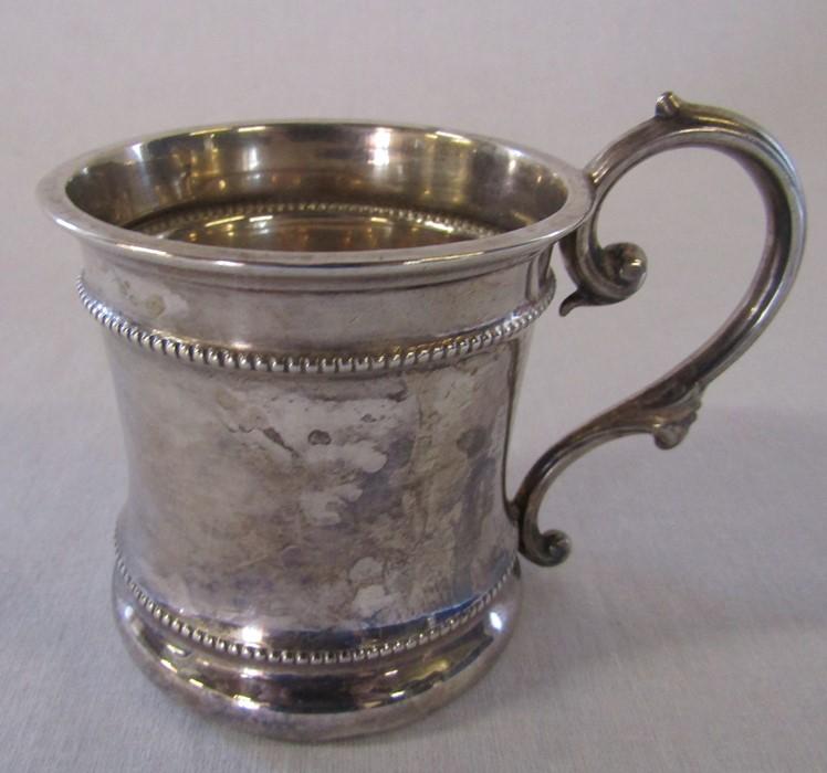 Silver christening tankard Birmingham 1908 H 7 cm weight 2.98 ozt - Image 2 of 2