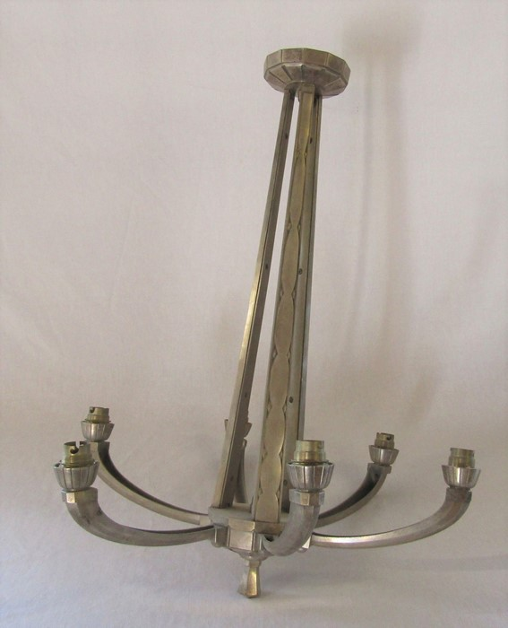Art Deco nickel plated bronze 6 branch light fitting H 64 cm