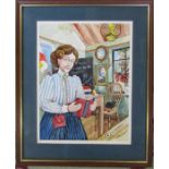 Colin Carr (1929-2002) framed watercolour of a school mistress signed and dated 1981 32 cm x 39