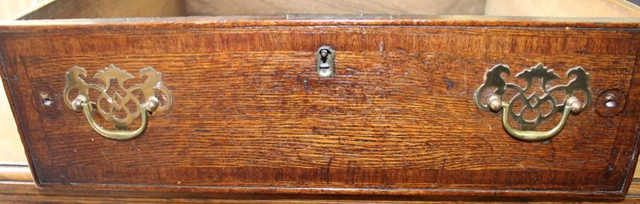 Georgian oak mule chest on bracket feet L 123cm D 55cm Ht 82cm - Image 17 of 18