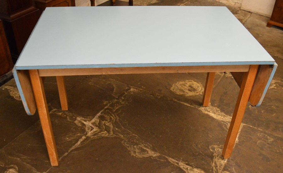 Formica style 1960's drop leaf kitchen table 178cm by 76cm