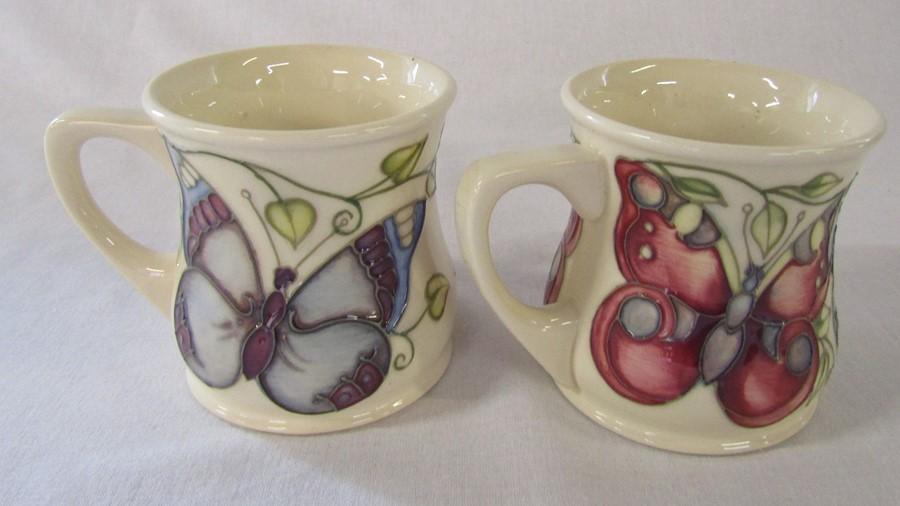 2 Moorcroft 'butterfly' pattern mugs H 8.5 cm - Image 3 of 4