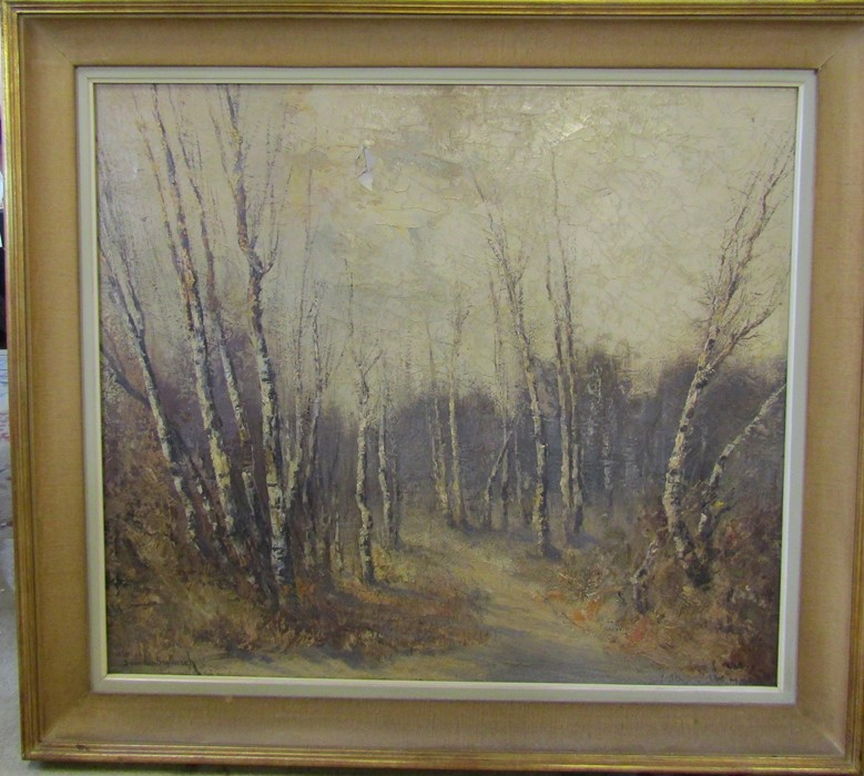 Jacques Van Den Seylbergh (1884-1960) large oil on canvas oil painting of a woodland scene (damage