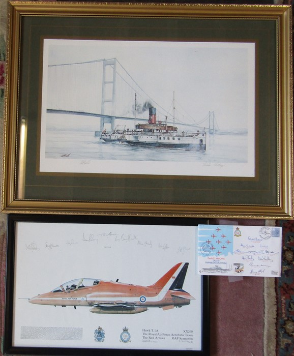Framed print of the Humber Heritage by David Bell, signed and titled in pencil 67 cm x 50 cm (size