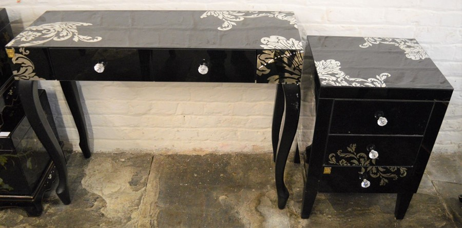 Glass & silvered dressing table & bedside cabinet (crack to dressing table)