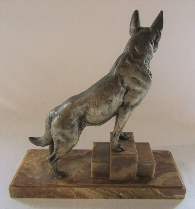 Art Deco bronze of an Alsatian dog on a raised marble base, signed L Carvin L 41.5 cm H 44 cm - Image 5 of 5