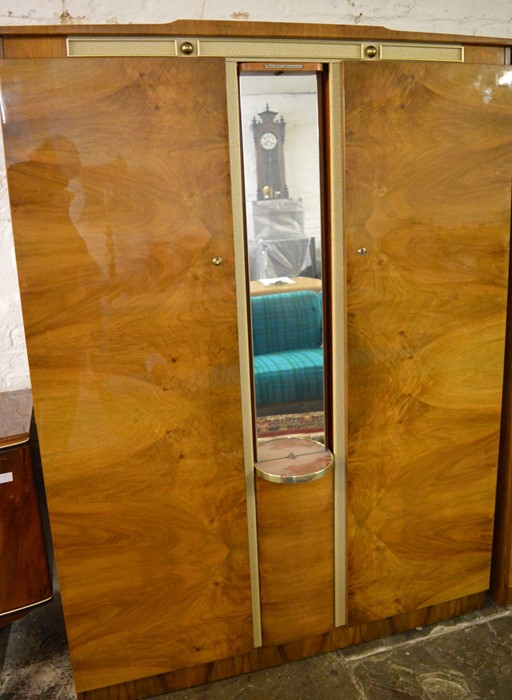 2 mid 20th century Beautility wardrobes one with swivel mirror Ht 178cm W 130cm & 92cm - Image 2 of 6