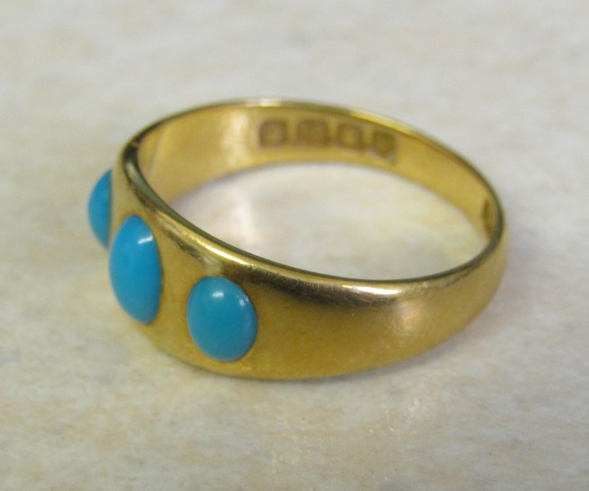 18ct gold turquoise ring size O weight 3.9 g - Image 2 of 11