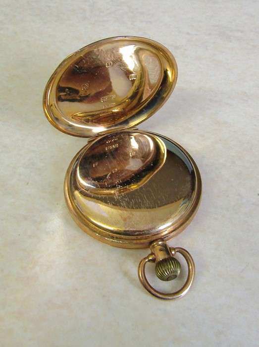 9ct gold half hunter Waltham pocket watch (glass broken), Birmingham 1926, engraved to Jos Chapman - Image 3 of 5