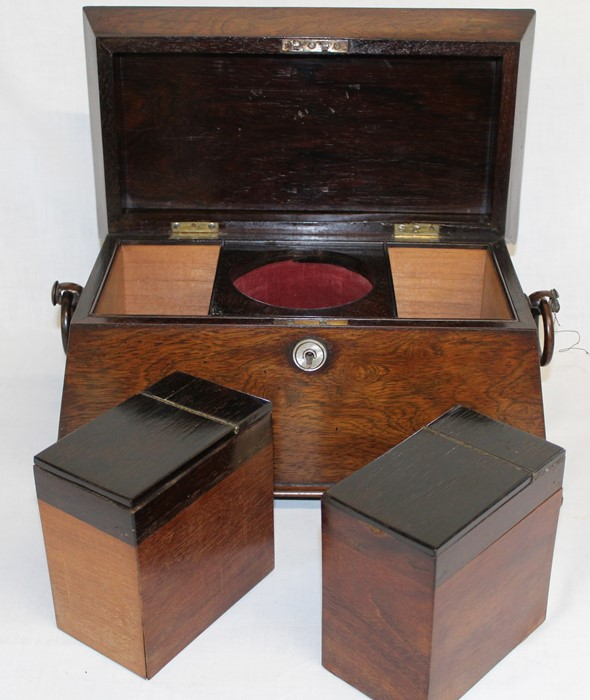 Large 19th century rosewood sarcophagus tea caddy, 33.5cm wide (damage to right handle) - Image 5 of 5