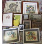 Various prints, paintings inc pair of still life watercolours, signed Ruth Murchison print and a