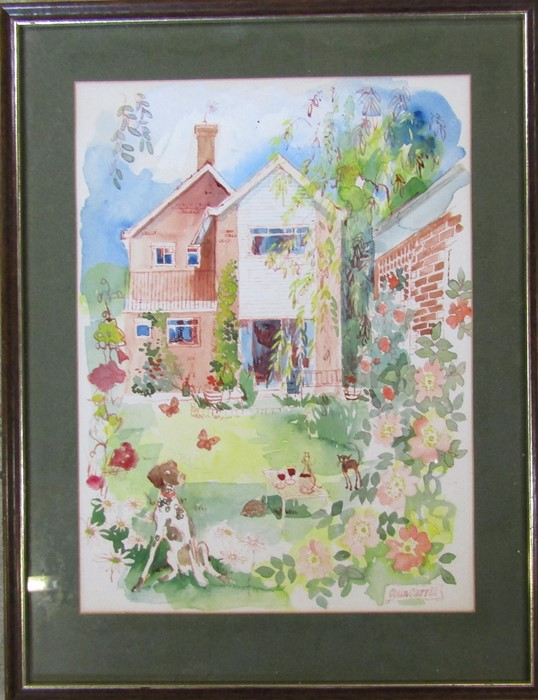 Colin Carr (1929-2002) - framed watercolour of a house and garden with dog in the foreground
