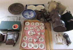 Various ceramics inc Royal Doulton and Royal Copenhagen, bowls and indoor boules, cameras - Zorki