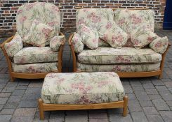 Ercol Renaissance high back two seater sofa (w 127cm), chair (w 74cm) & footstool with scatter
