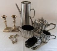 Selection of silver plate inc tea set, Old Hall stainless steel coffee pot and candlesticks