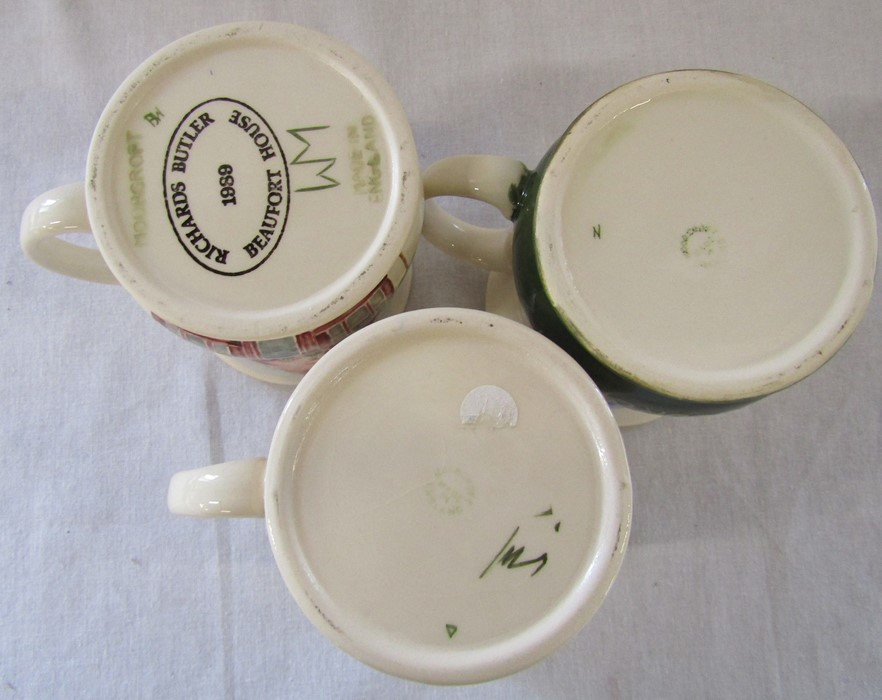 3 Moorcroft mugs - Bottle oven, Beaufort House and Thaxted Morris men H 9 cm - Image 3 of 3