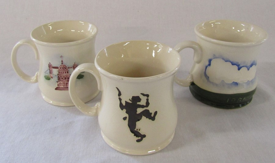 3 Moorcroft mugs - Bottle oven, Beaufort House and Thaxted Morris men H 9 cm - Image 2 of 3