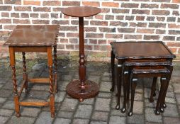 nest of tables, high pedestal table & an occasional table with barley twist legs