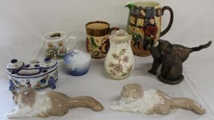 Faience ink stand marked HB Quimper , 2 Nao reclining cats (Gato de Angora), large Beswick