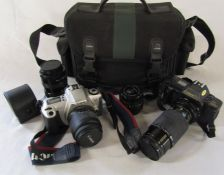 Canon T70 camera with Sigma lens and instructions, Canon EOS 300 camera with Sirius lens, Jessop