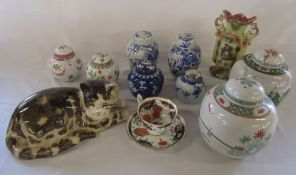Various ceramics inc ginger jars, Shelley old foley teacup and saucer & a Winstanley style cat (