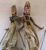 2 antique Indonesian Wayang Golek wooden puppets H 71 cm