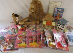 Various toys inc large lion soft toy, Steiff Corso the horse, puppy in my pocket, Jaws jigsaw, Betta