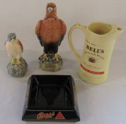 Large 75 cl Golden Eagle decanter containing Beneagles Scotch whisky (full), Kestrel decanter (