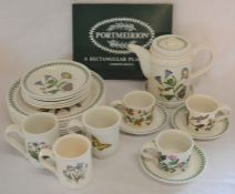 6 Portmeirion placemats, 6 dinner plates, 5 side plates, coffee pot with stand, 3 cups &