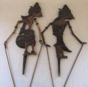 2 Asian wooden shadow puppets H 57 cm