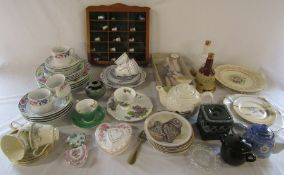 Various ceramics inc Royal Doulton 'Juliet' cups and saucers, Adderley, Royal Doulton hunting plate,