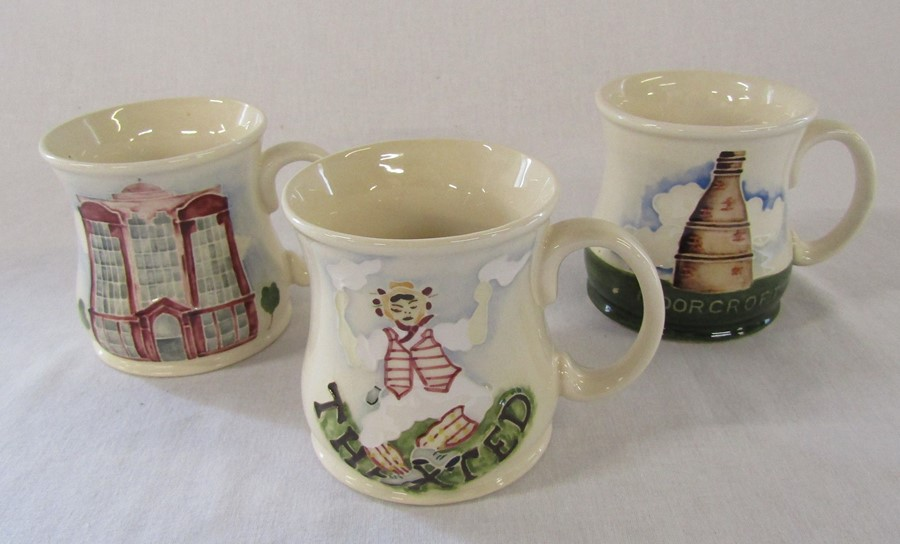 3 Moorcroft mugs - Bottle oven, Beaufort House and Thaxted Morris men H 9 cm