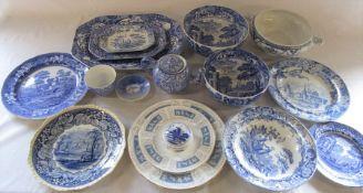 Various blue and white ceramics inc Spode Italian, Delft, Royal Copenhagen, Coalport and Masons