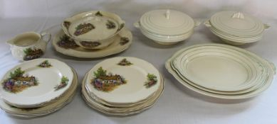 Alfred Meakin Hathaway Cottage tureen, jug & dinner plates and Grindley Art Deco Cream Petal