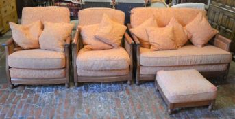 Ercol bergere 2 seater sofa & 2 arm chairs with a foot stool