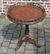 Reproduction mahogany Chippendale style circular table with gallery