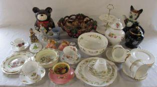 Selection of ceramics inc Royal Doulton Bunnykins, Goebel, Wedgwood jasperware, Aramis teddy bear,
