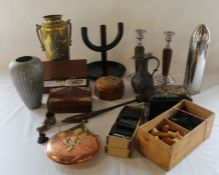Brass twin handled vase, oak candlesticks, dominoes, chess set, copper flask, lacquered box,
