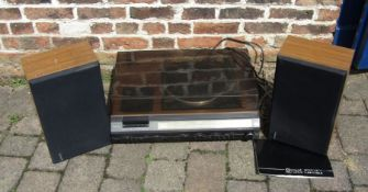 Hitachi music system SDT-7840 with pair of Hitachi speakers and a Garrard SP25 turntable / belt