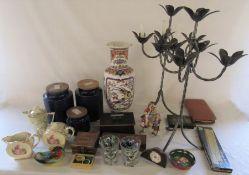 Selection of ceramics, pair of metal candelabras, cribbage board, men's part toiletry set,