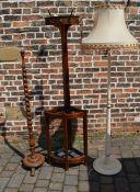 Corner coat stand & 2 standard lamps